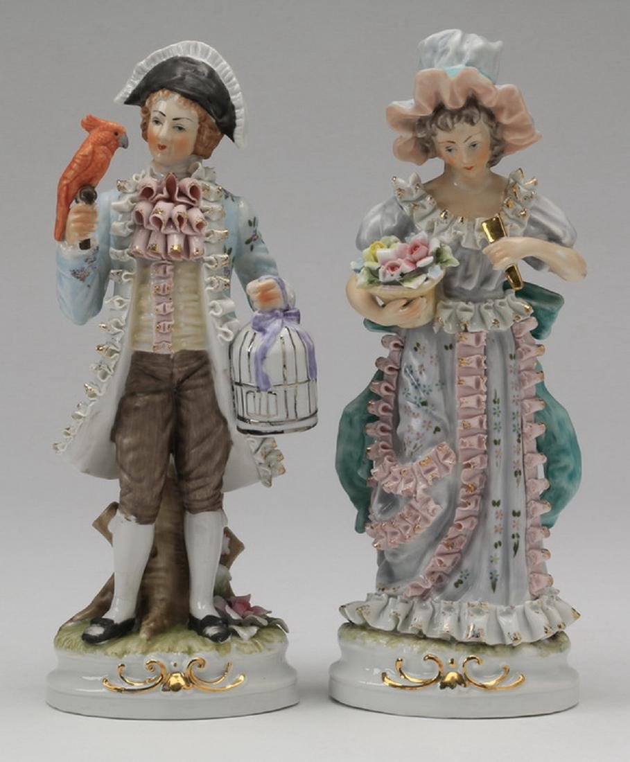 """(2) Porcelain figurines in the style of Dresden, 11""""h"""