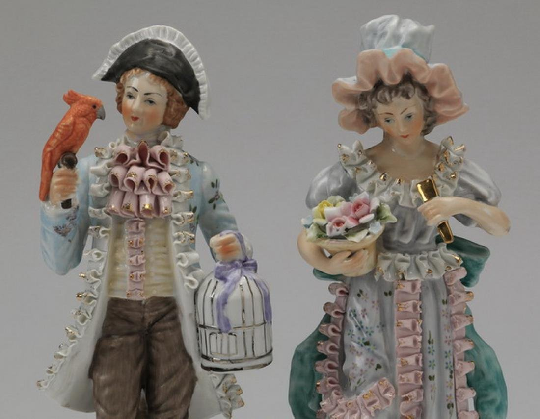 """(2) Porcelain figurines in the style of Dresden, 11""""h - 2"""