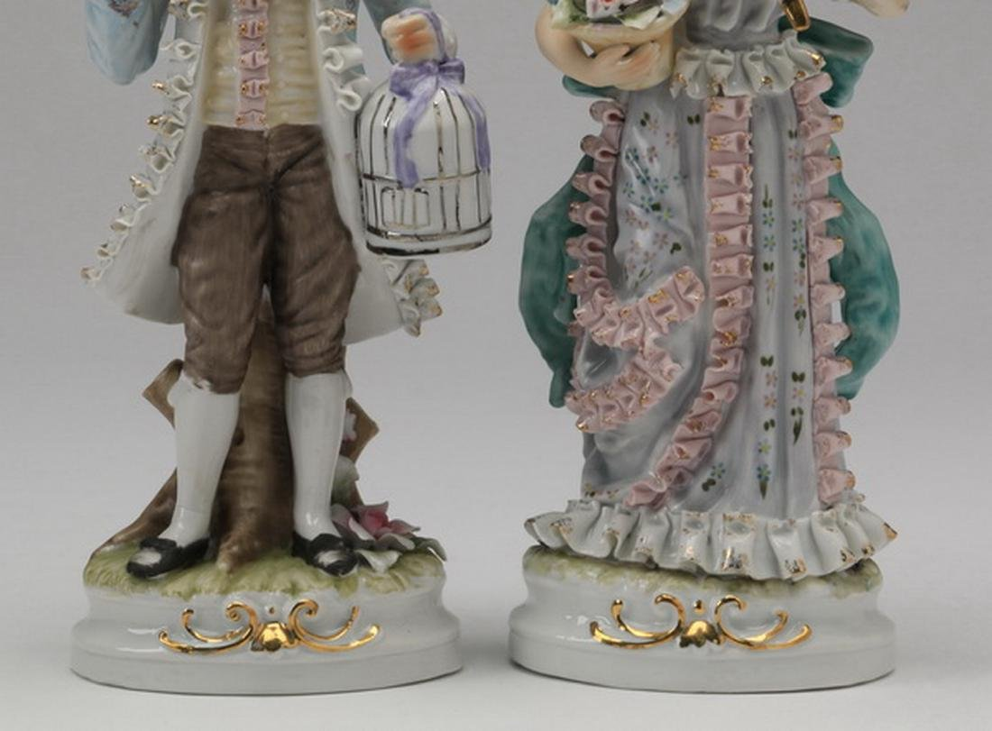 """(2) Porcelain figurines in the style of Dresden, 11""""h - 3"""