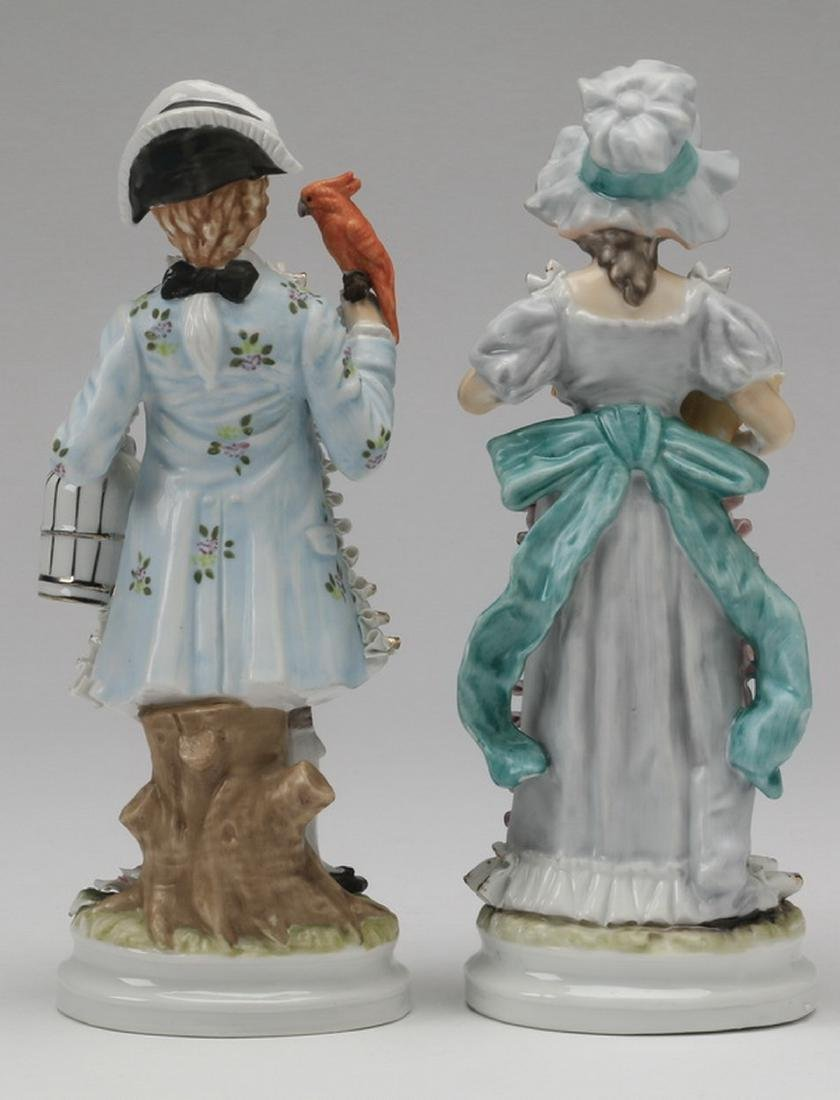 """(2) Porcelain figurines in the style of Dresden, 11""""h - 4"""