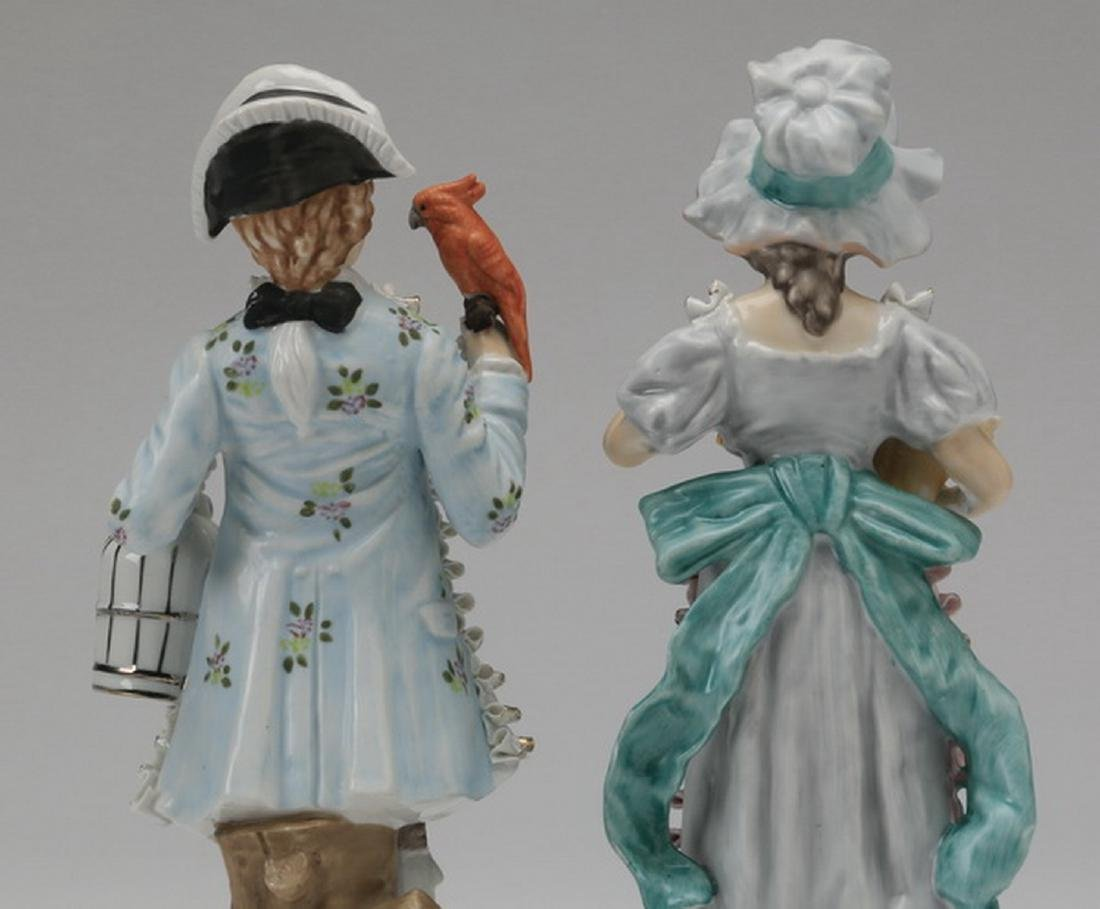 """(2) Porcelain figurines in the style of Dresden, 11""""h - 5"""