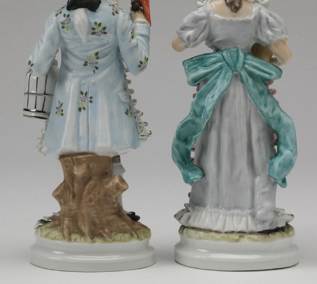 """(2) Porcelain figurines in the style of Dresden, 11""""h - 6"""