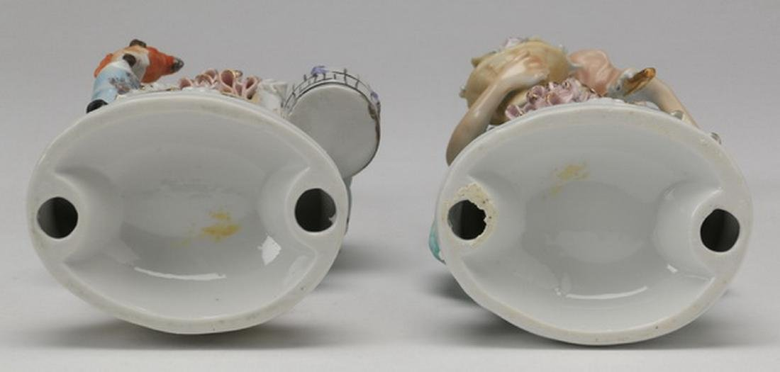 """(2) Porcelain figurines in the style of Dresden, 11""""h - 7"""