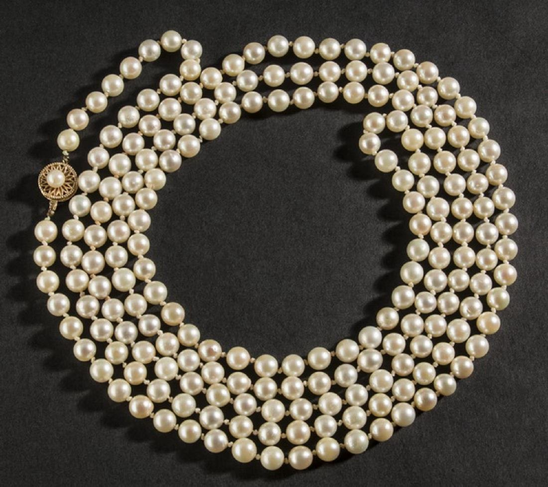 "Strand of Akoya pearls, approx. 70"" long"