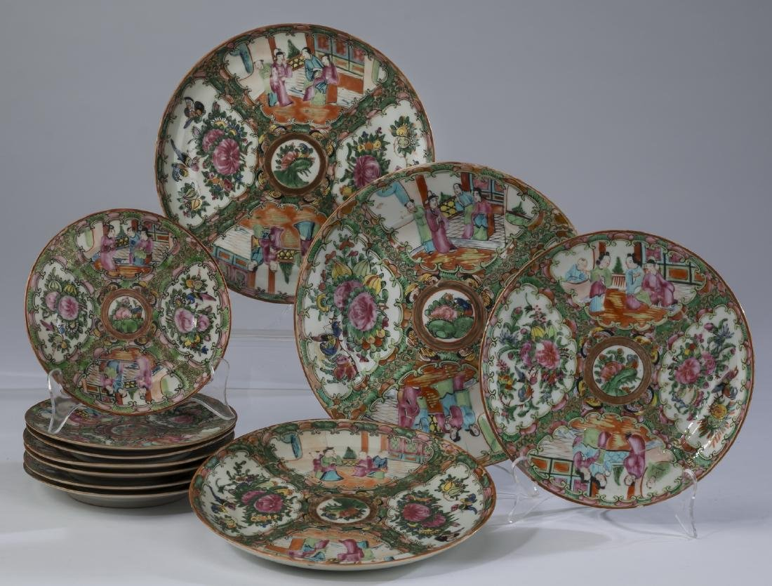 (11) Chinese export Rose Medallion plates
