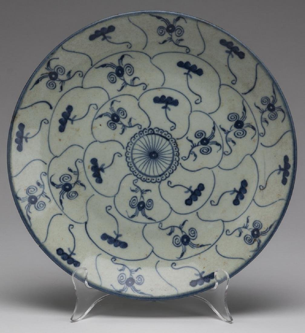 "Chinese 'Lingzhi & Tea Flower' plate, 10""dia."
