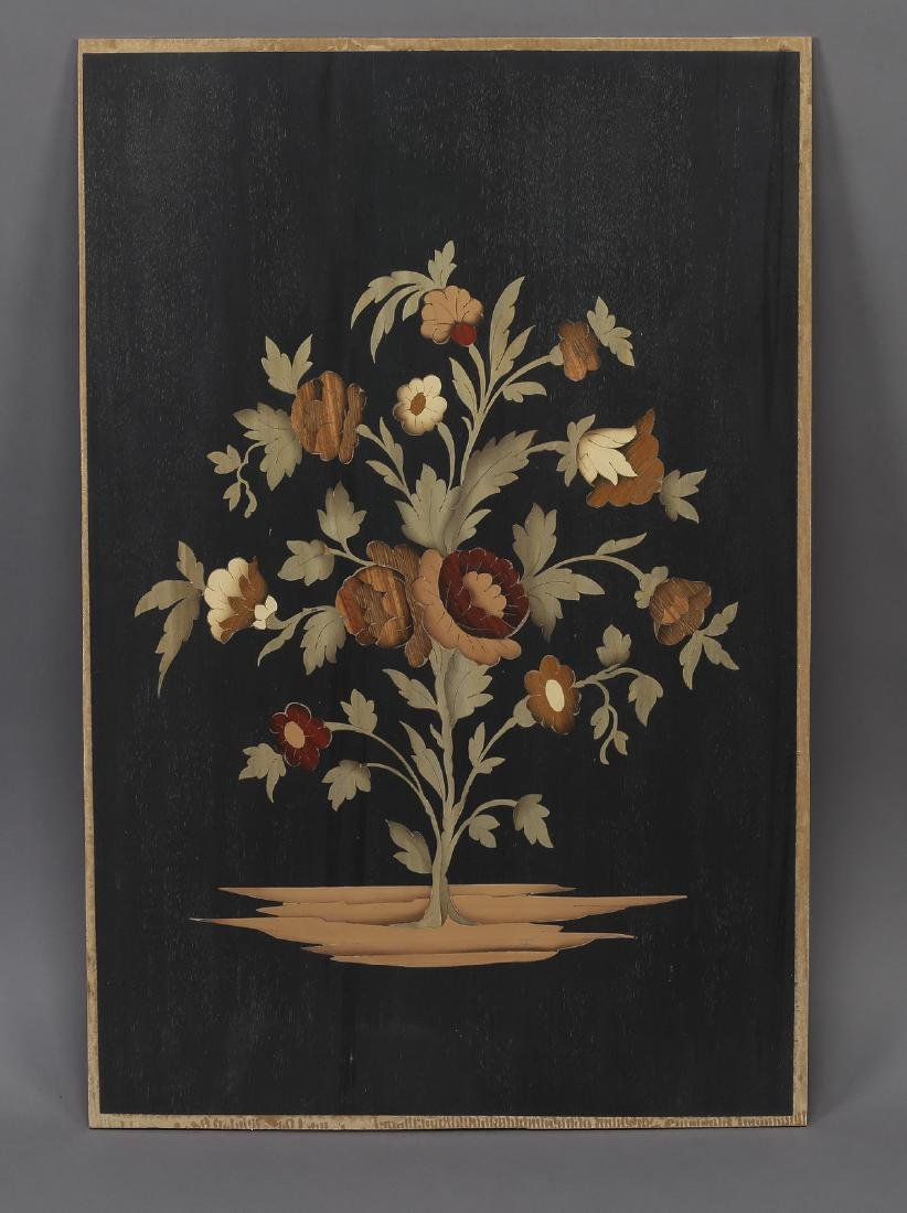 Italian polychrome marquetry inlaid floral panel