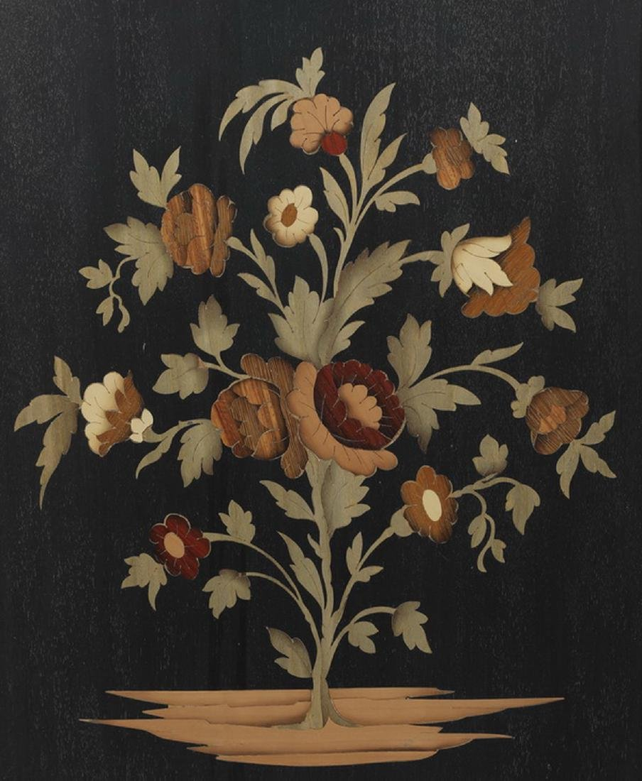 Italian polychrome marquetry inlaid floral panel - 2