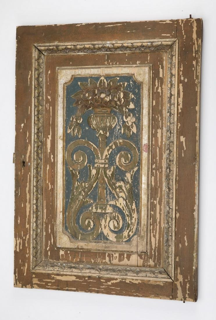 "19th c. carved architectural panel, 27""h"