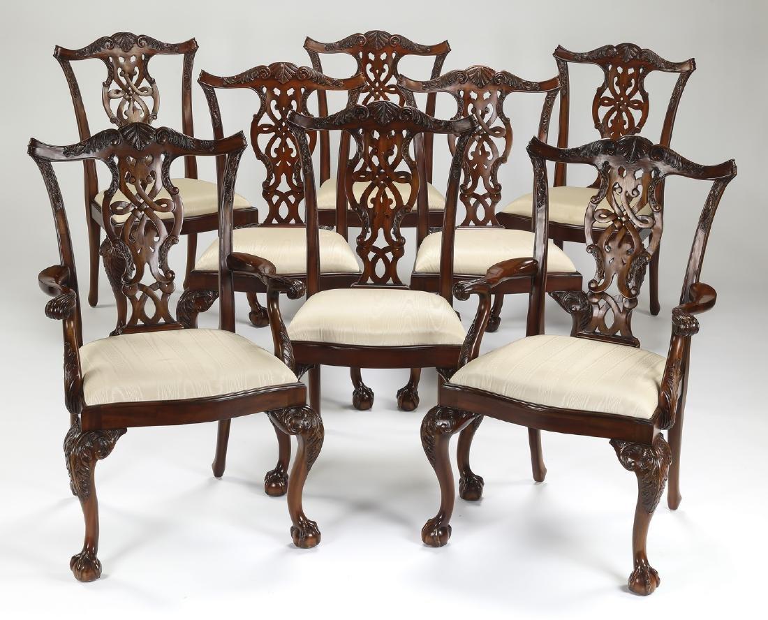 (8) Maitland Smith carved mahogany chairs