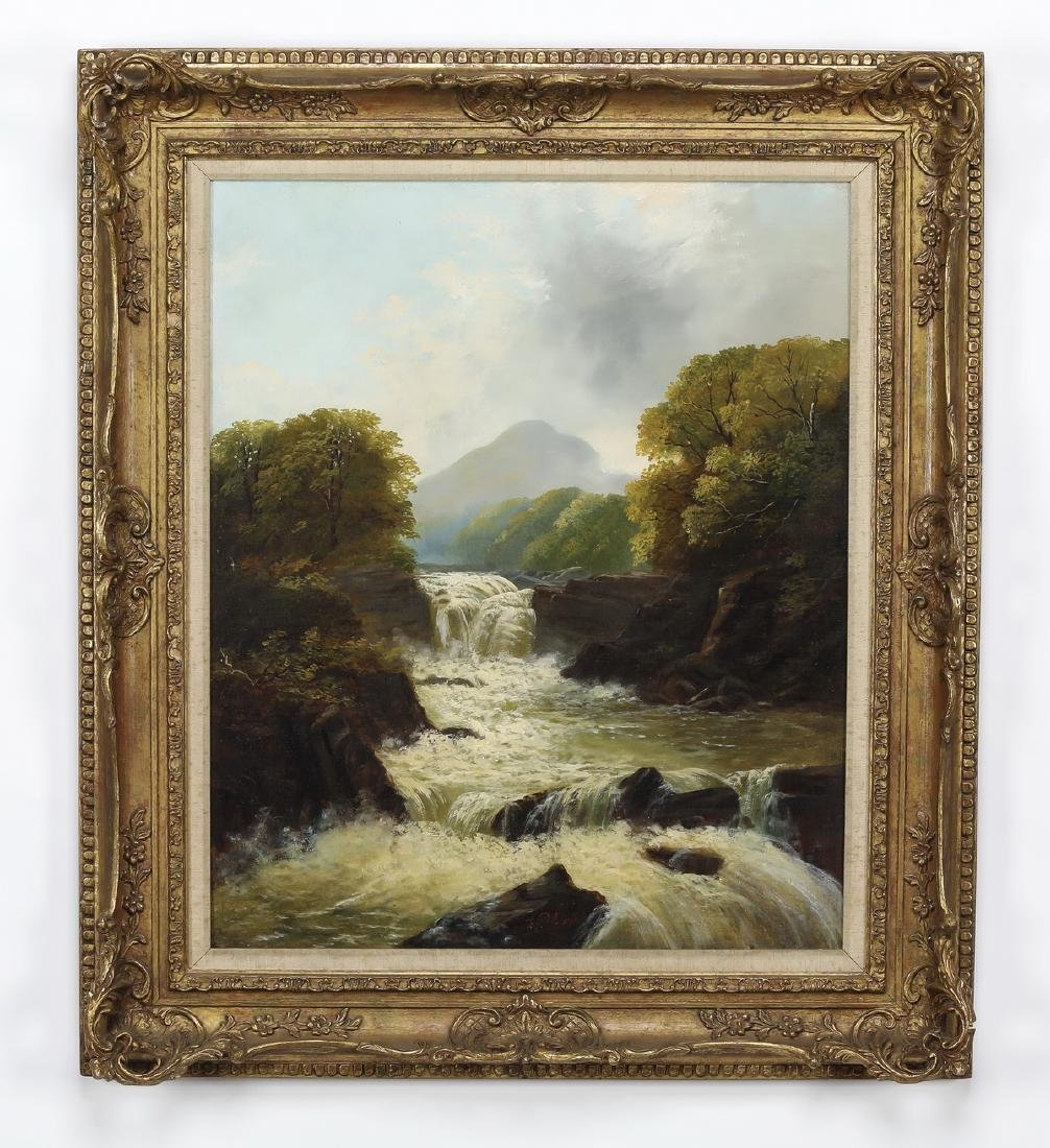 Early 20th c. American O/c of rushing river, signed