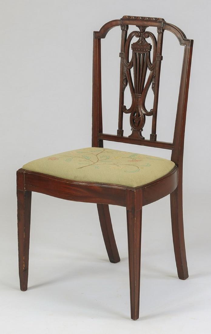 Sheraton style chair w/ needlepoint seat, 19th c.
