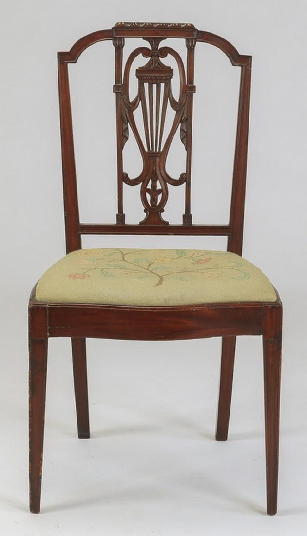 Sheraton style chair w/ needlepoint seat, 19th c. - 3