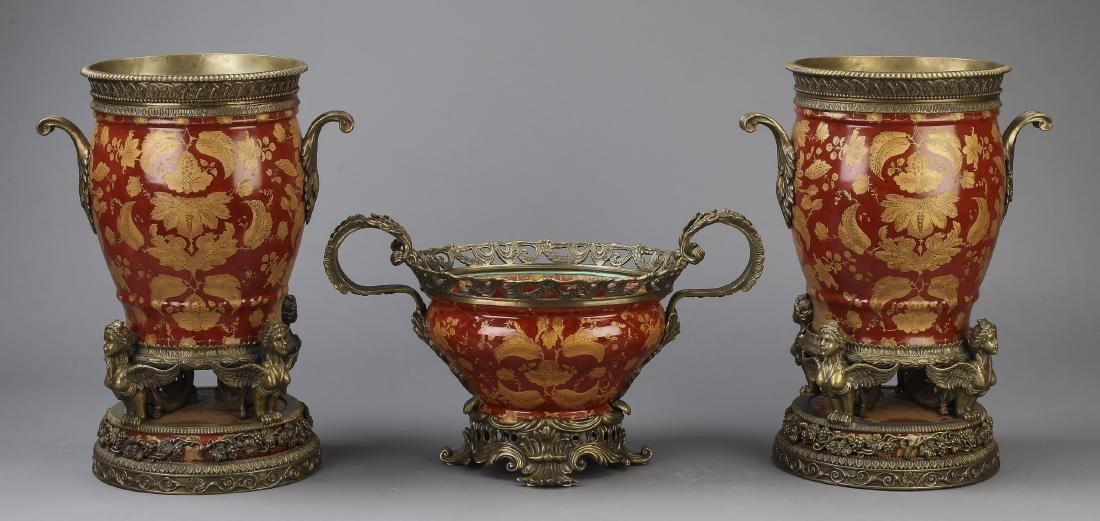 3 pc gilt mounted porcelain vase garniture set