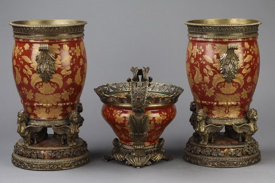 3 pc gilt mounted porcelain vase garniture set - 2