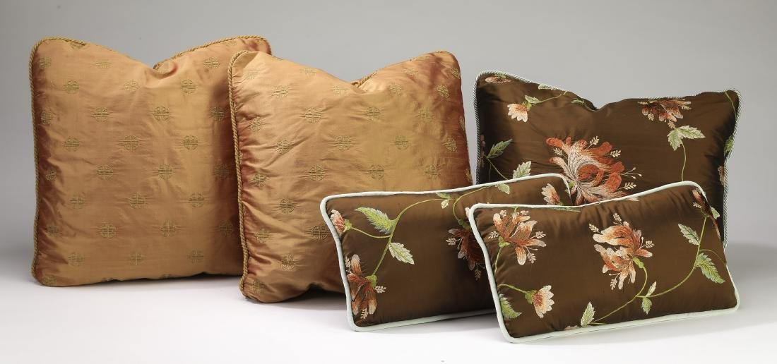 (5) Custom embroidered silk and down pillows