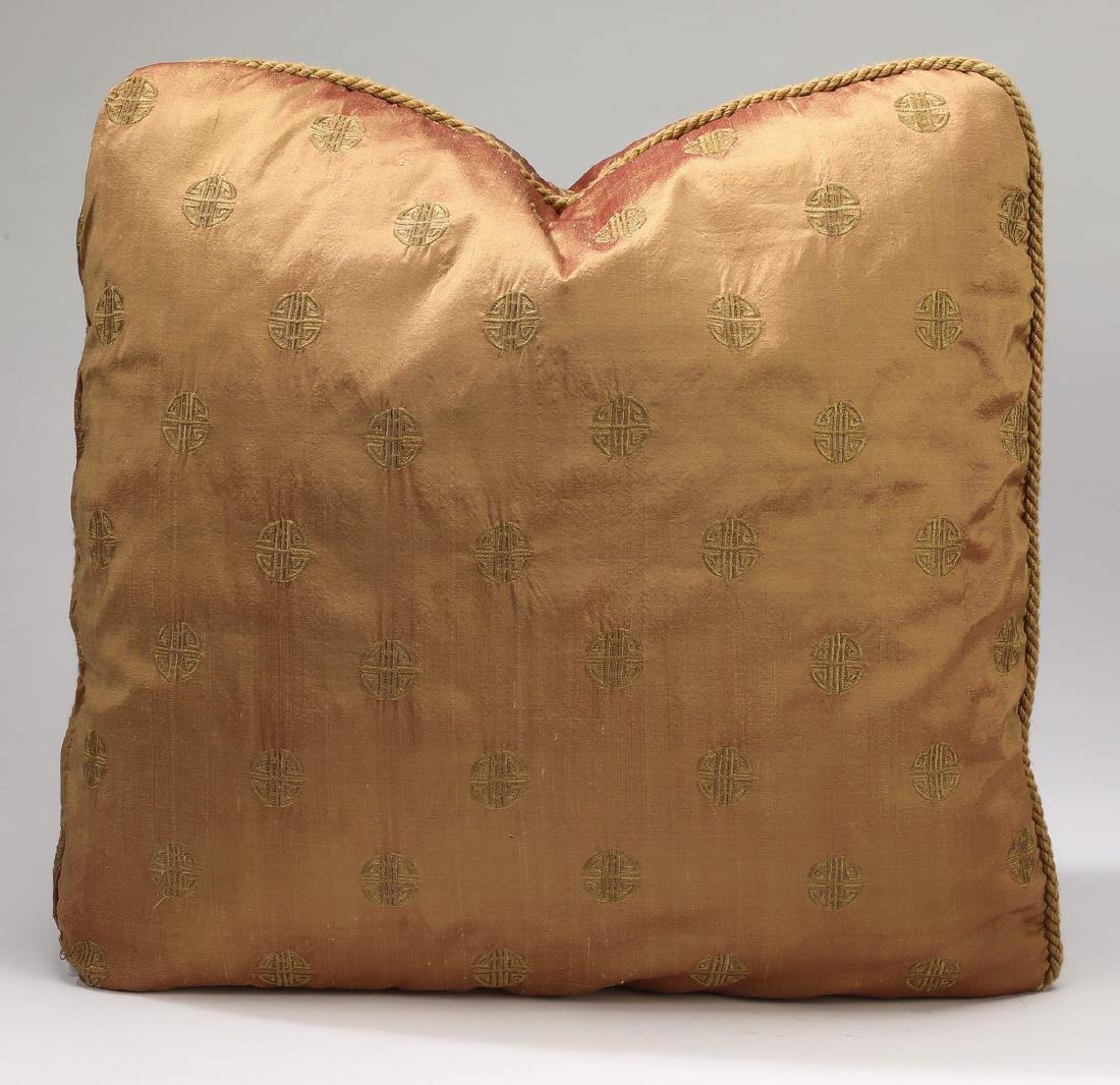 (5) Custom embroidered silk and down pillows - 2