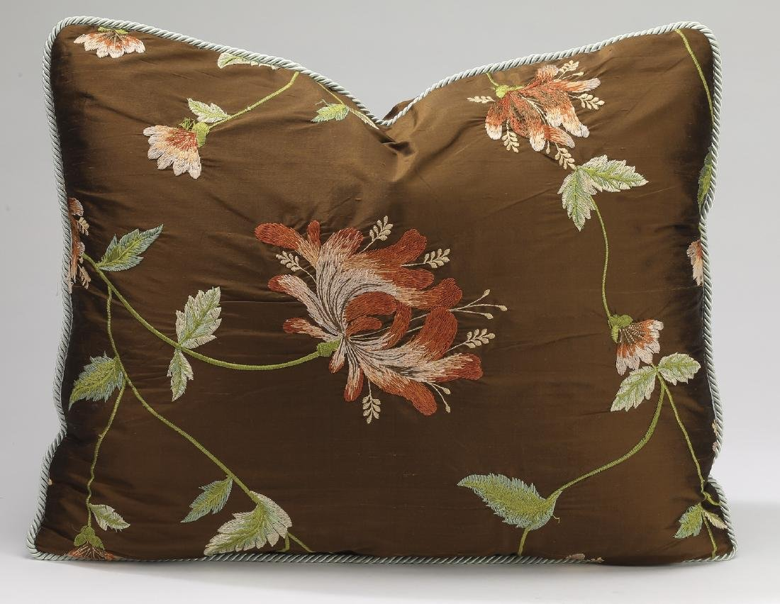 (5) Custom embroidered silk and down pillows - 3