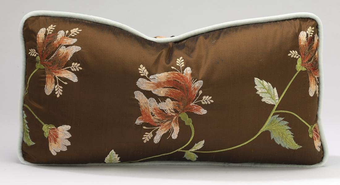 (5) Custom embroidered silk and down pillows - 4