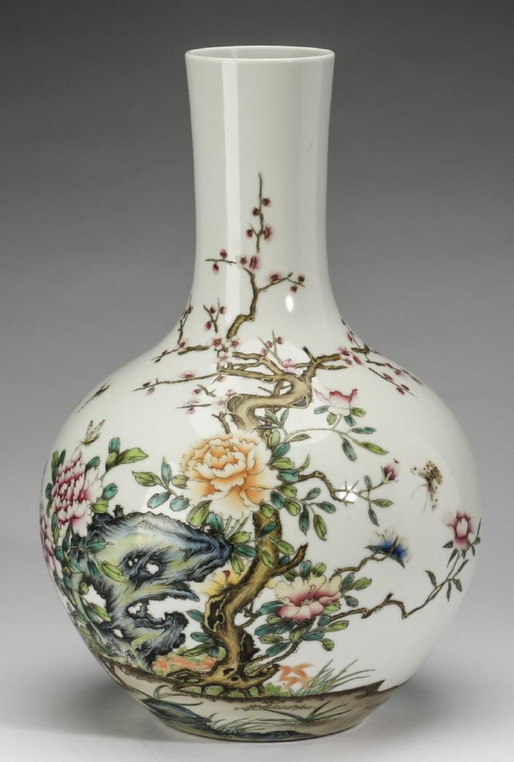 Large Chinese bottle vase, inscribed, artist's seal