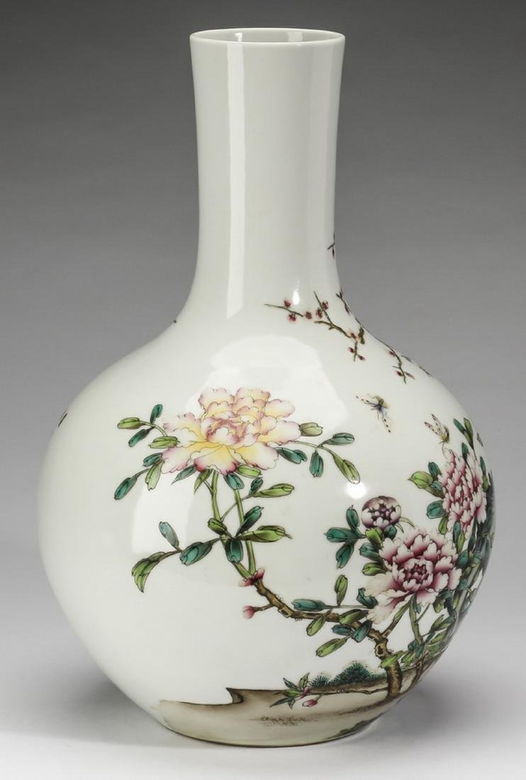 Large Chinese bottle vase, inscribed, artist's seal - 4