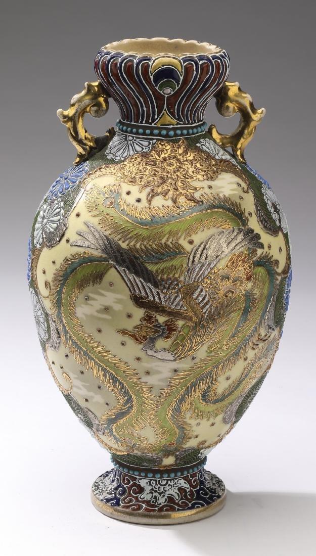 "Japanese phoenix vase, 12""h"