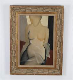 Gustave Buchet (Swiss) signed O/c of abstract nude