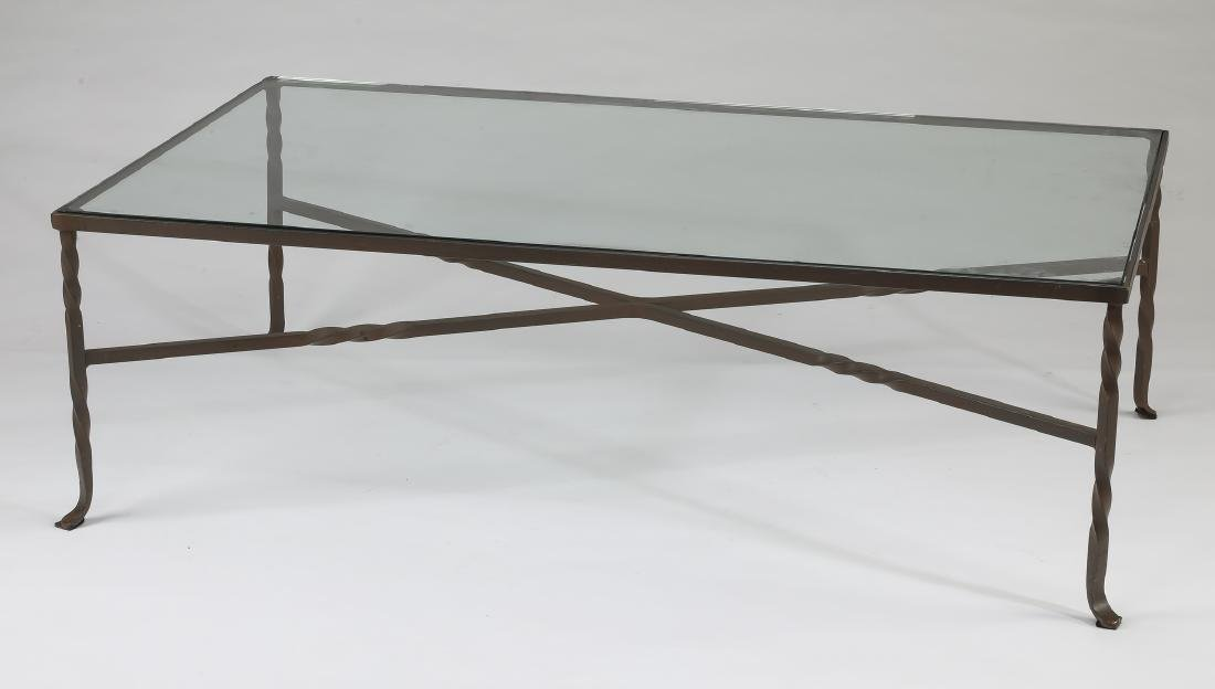 Patinated wrought iron & glass cocktail table