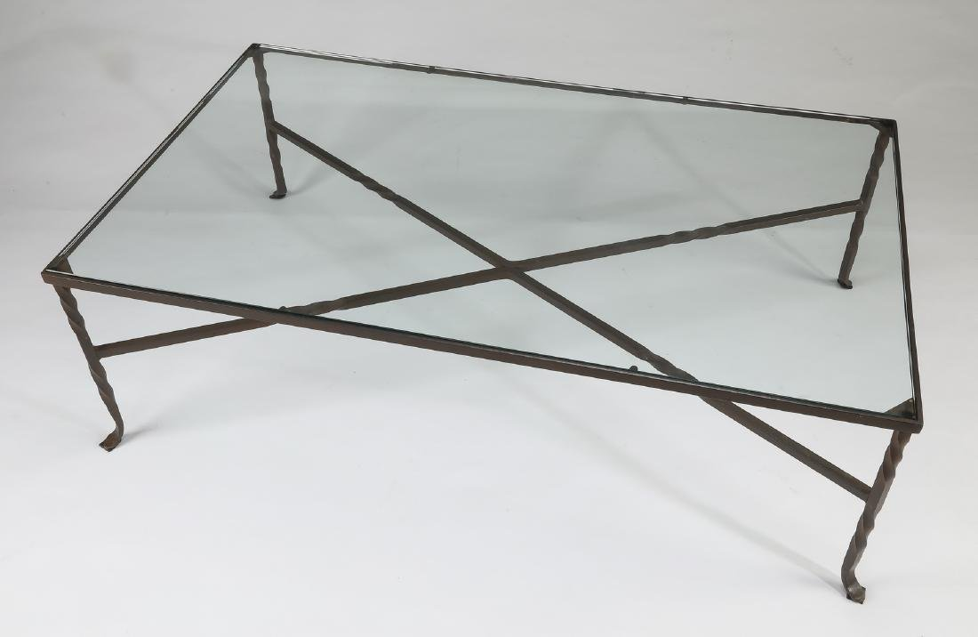 Patinated wrought iron & glass cocktail table - 2