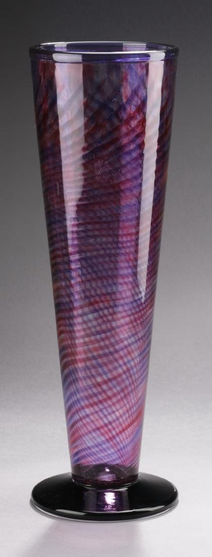 "Purple and raspberry art glass vase, signed, 16""h"