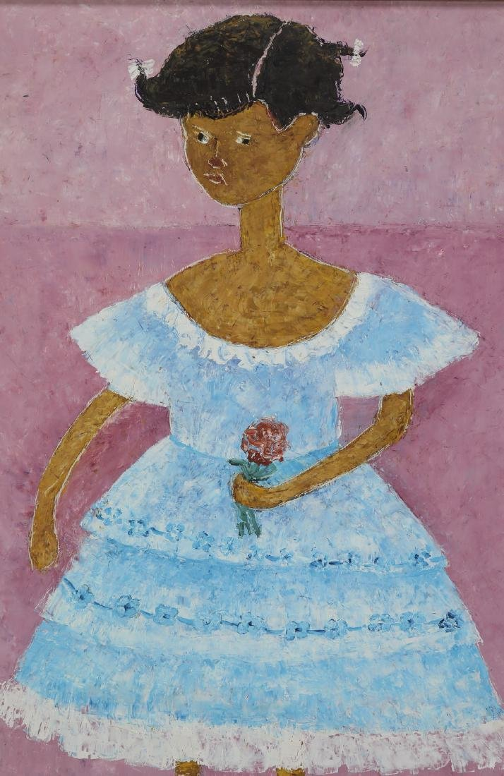 Danielle Henri (Haitian), signed acrylic on masonite - 2