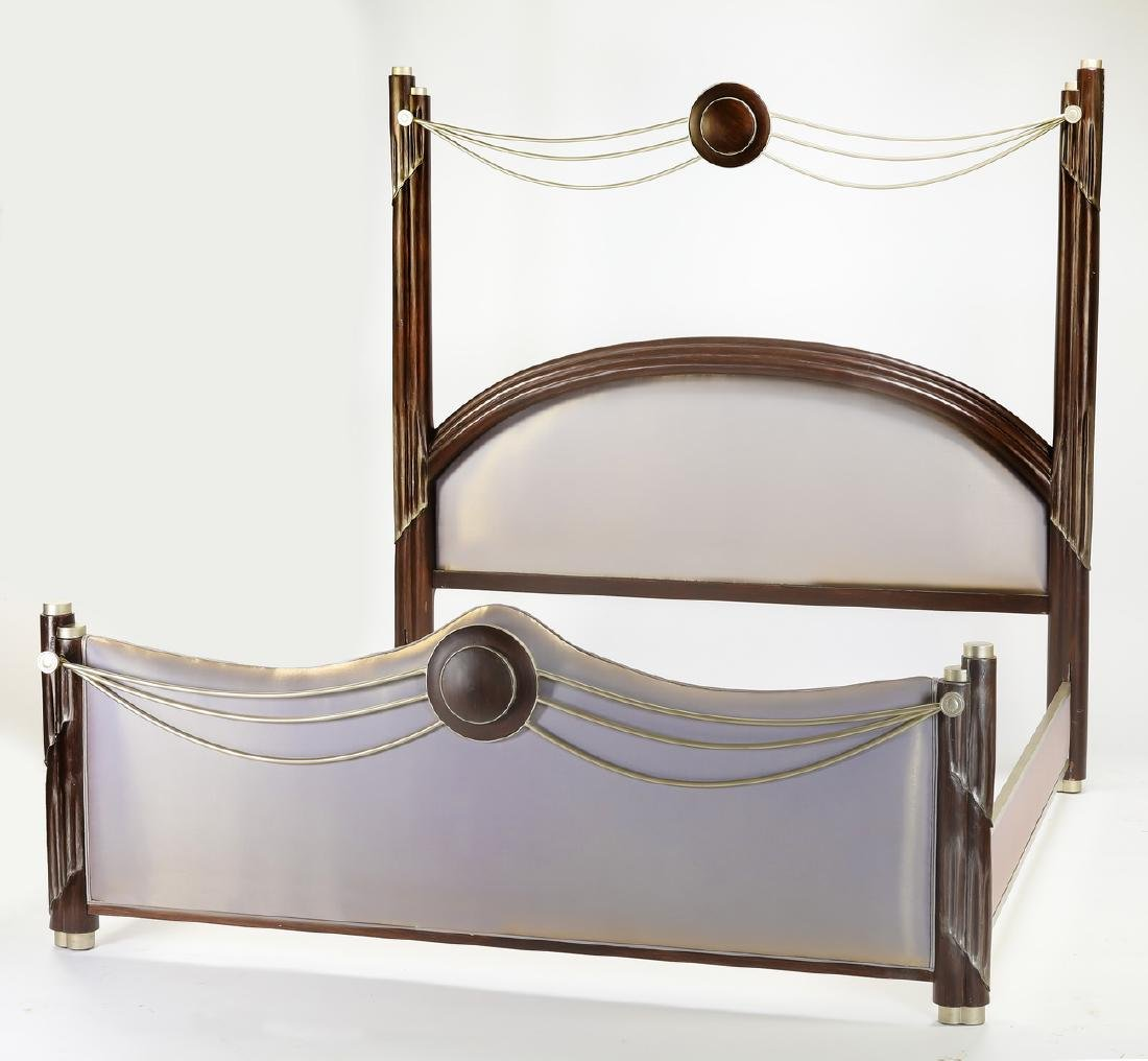 Art Deco style king bed upholstered in silk