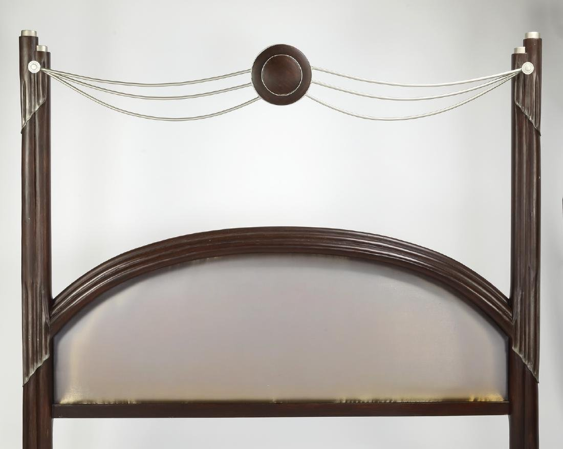 Art Deco style king bed upholstered in silk - 2