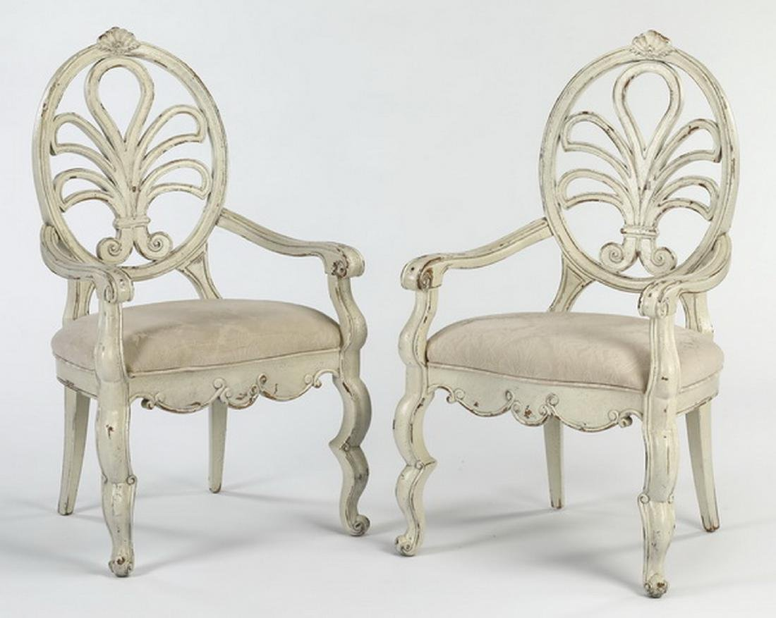 (2) French Provincial style paint-decorated armchairs
