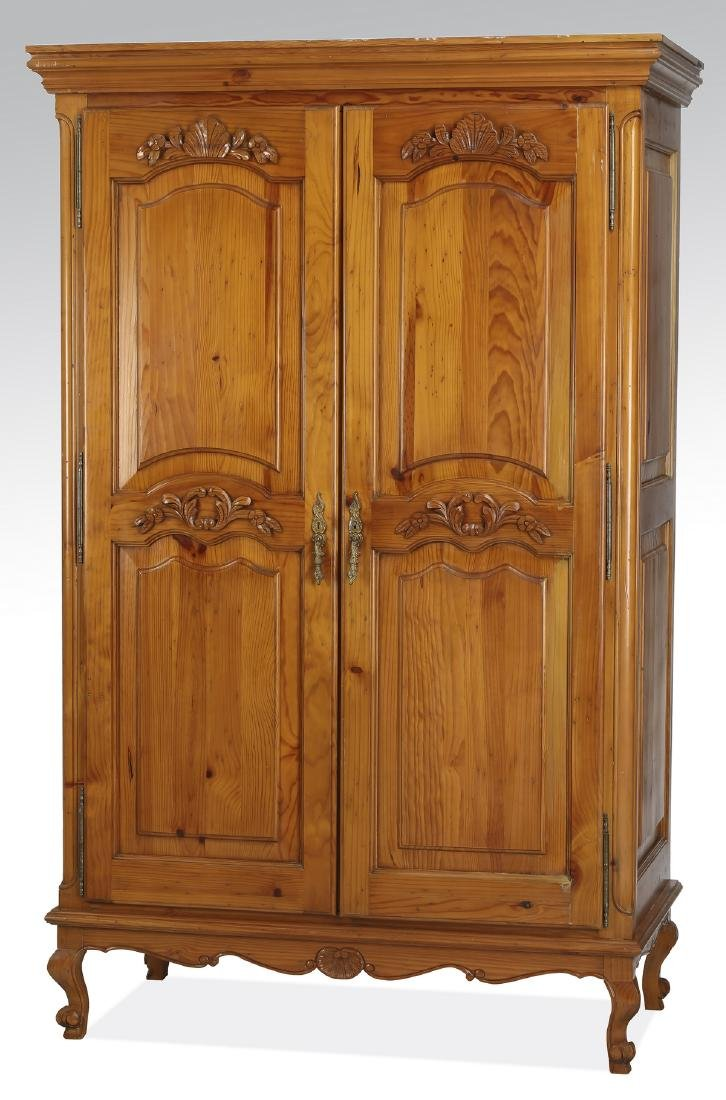 French inspired pine armoire w/ shelves