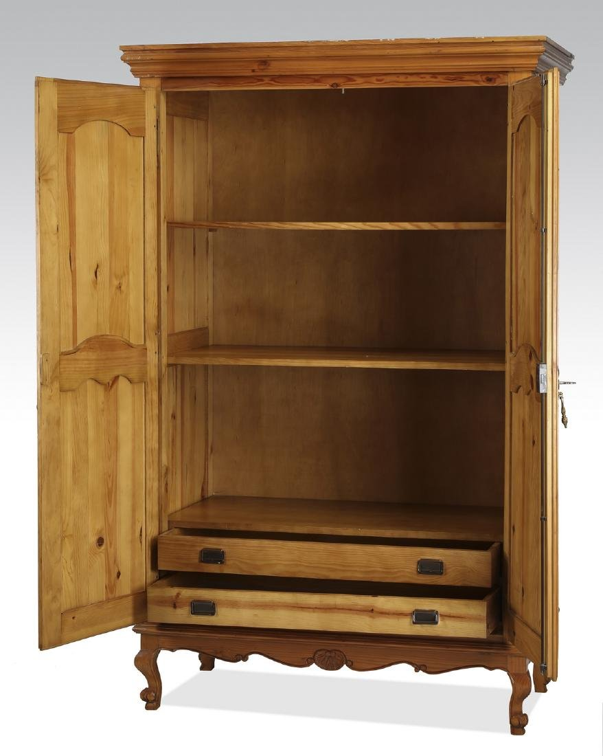 French inspired pine armoire w/ shelves - 2
