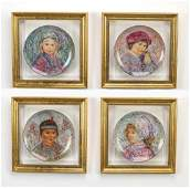 4 Nobility of Children hand painted plates