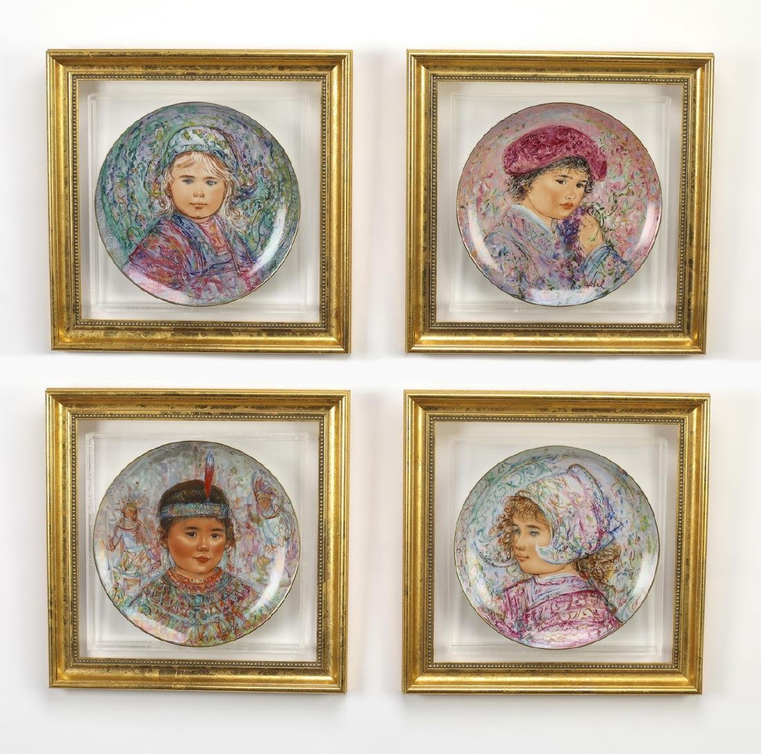 (4) 'Nobility of Children' hand painted plates