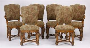 6 Italian carved walnut dining chairs 42h