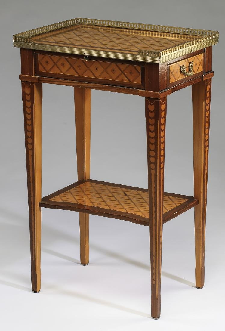 Early 20th c. French parquetry and bronze side table