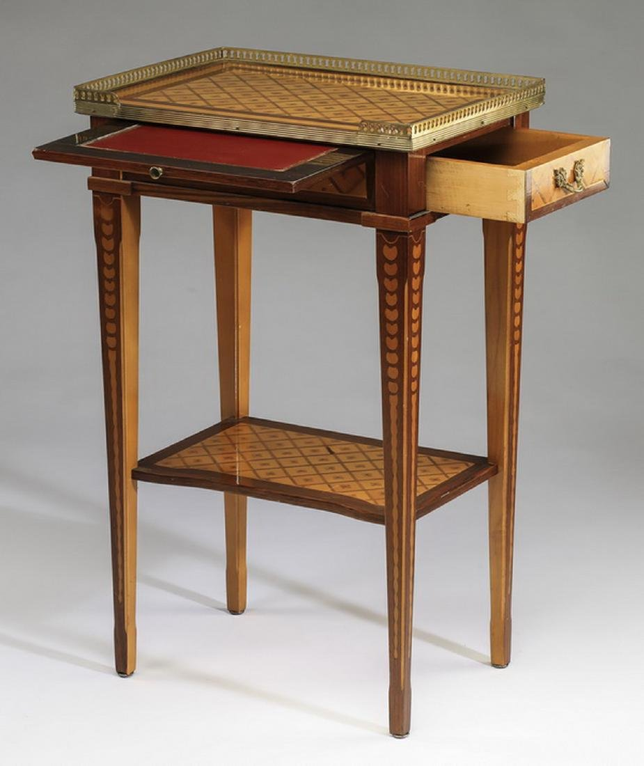 Early 20th c. French parquetry and bronze side table - 2