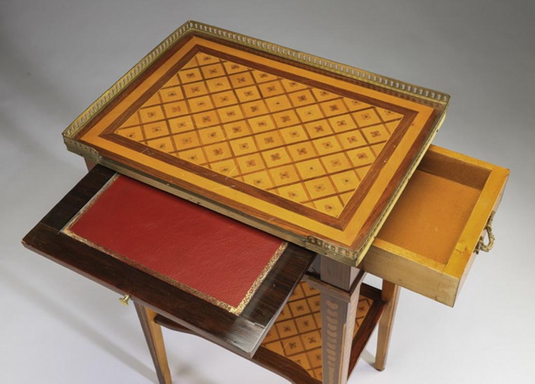 Early 20th c. French parquetry and bronze side table - 3