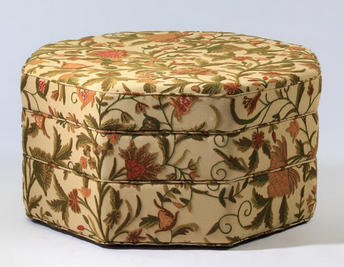 Custom made ottoman w/ crewelwork upholstery - 2