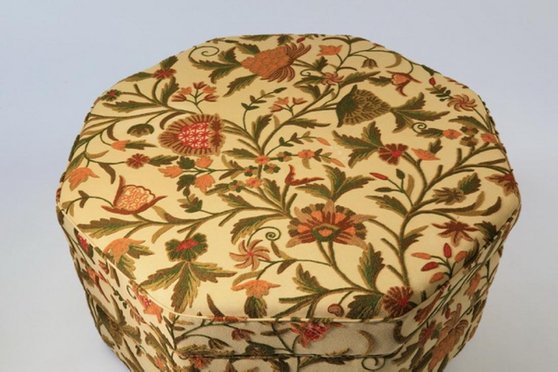 Custom made ottoman w/ crewelwork upholstery - 3