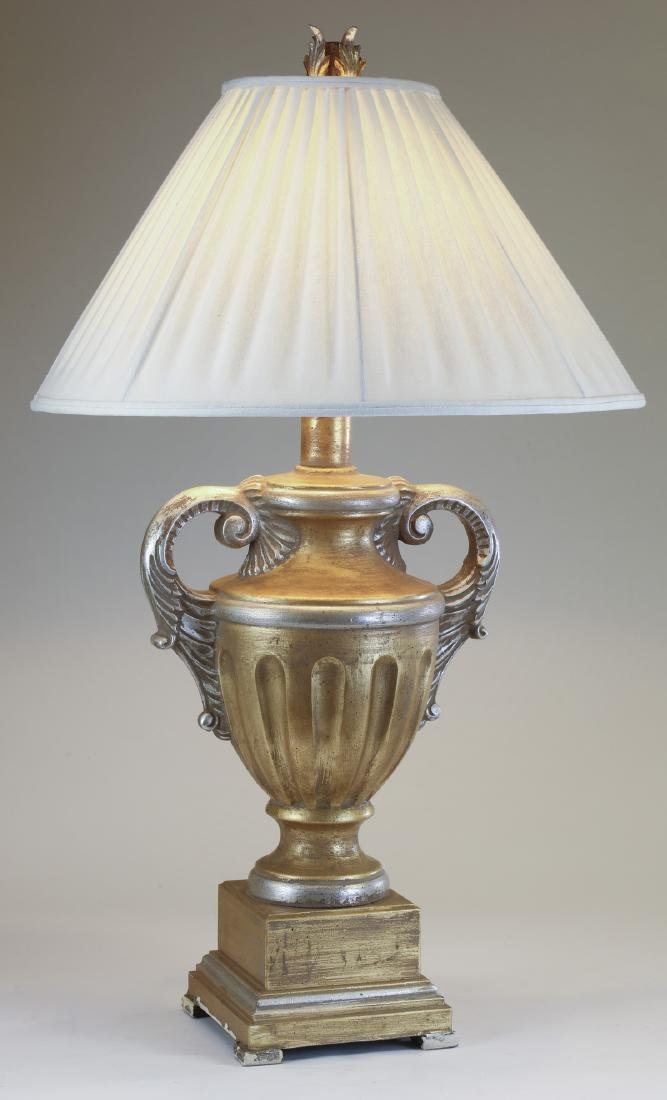 """Neoclassical style gilded lamp w/ linen shade, 43""""h"""