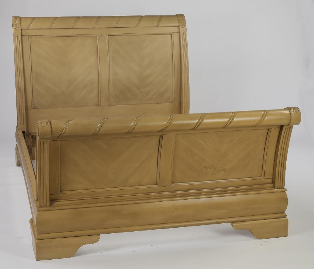 Empire style light mahogany queen size sleigh bed