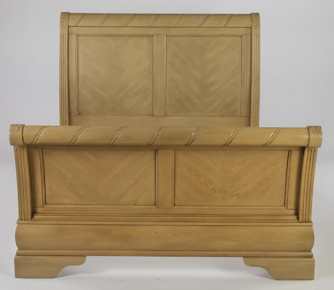 Empire style light mahogany queen size sleigh bed - 2