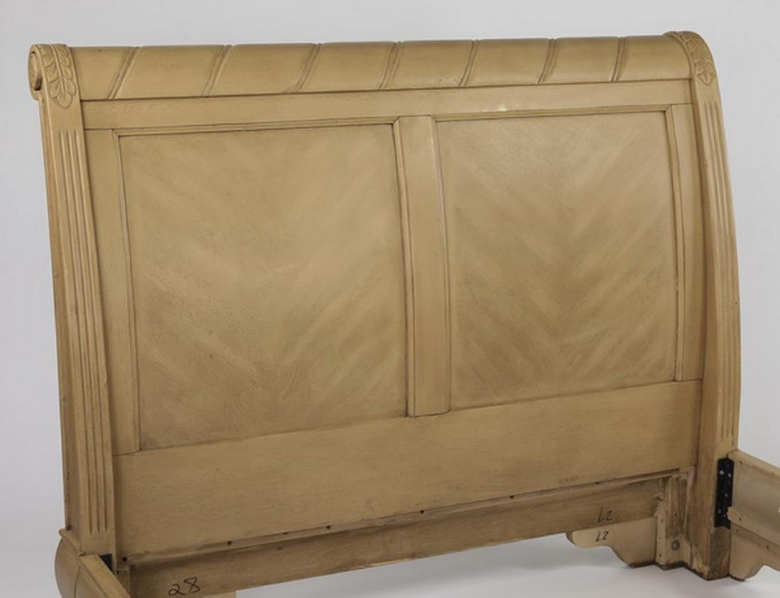 Empire style light mahogany queen size sleigh bed - 3