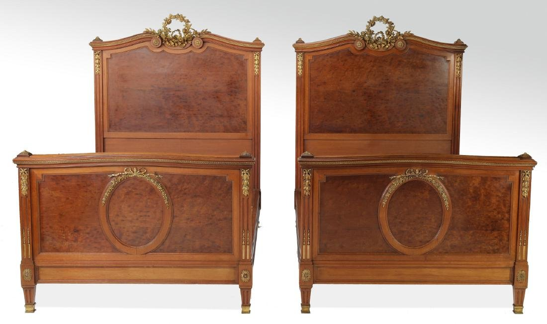 (2) 19th c French bronze mounted walnut beds