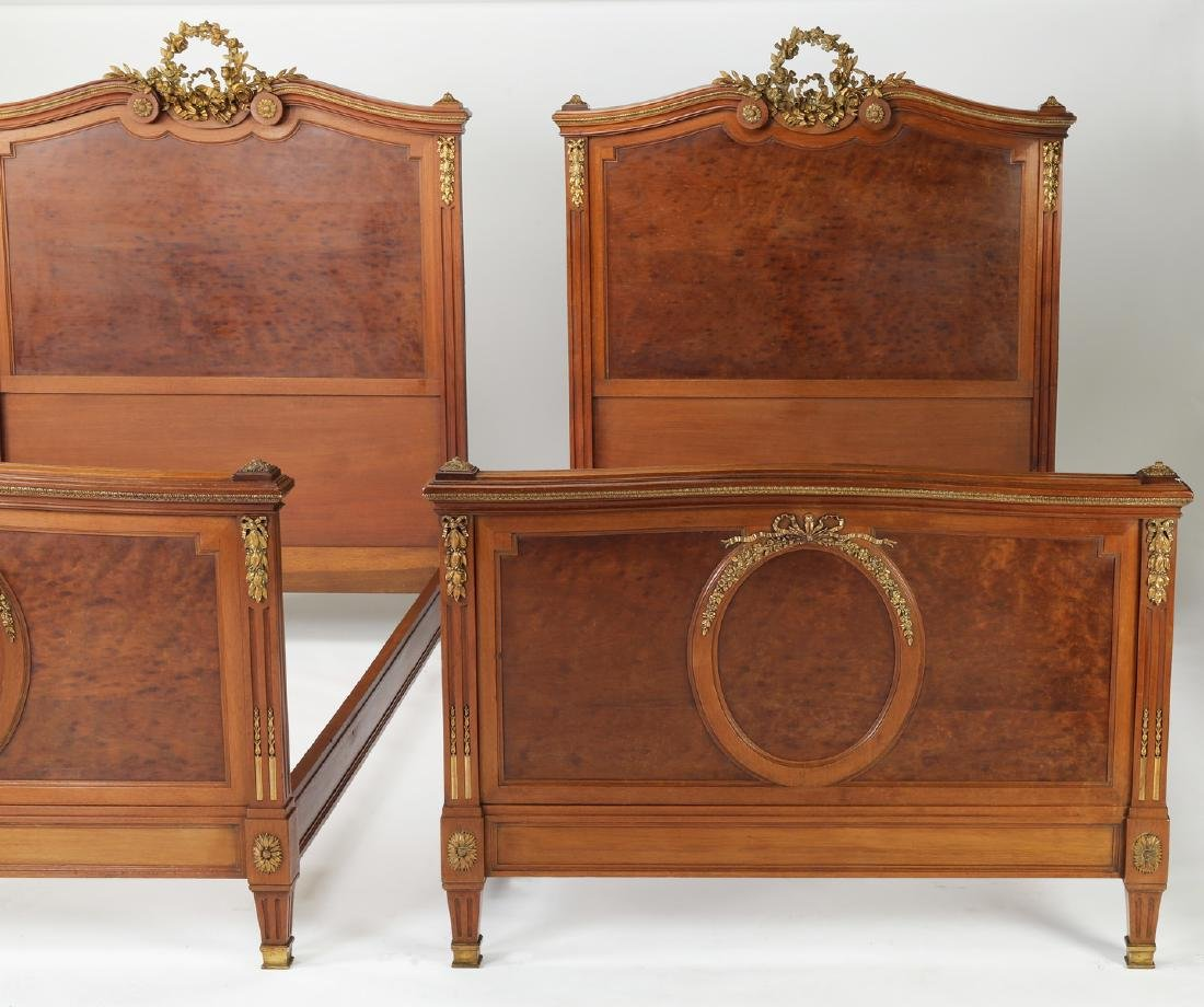 (2) 19th c French bronze mounted walnut beds - 2